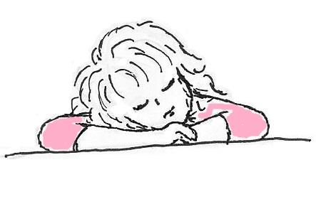 tekening van mijzelf, terwijl ik moe lig te zijn
