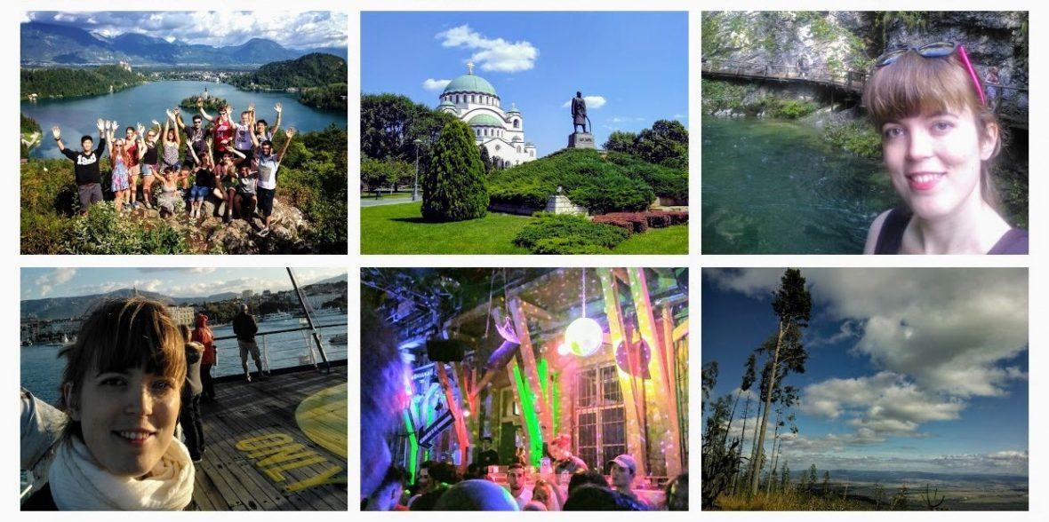 een collage van zes foto's die tonen waarom in je eentje reizen zo tof is