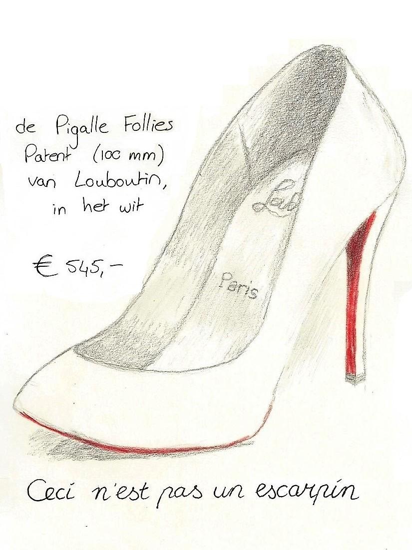 """Een tekening van een pump, de Pigalle Follies Patent van Louboutin. Daaronder de woorden """"ceci n'est pas un escarpin""""."""