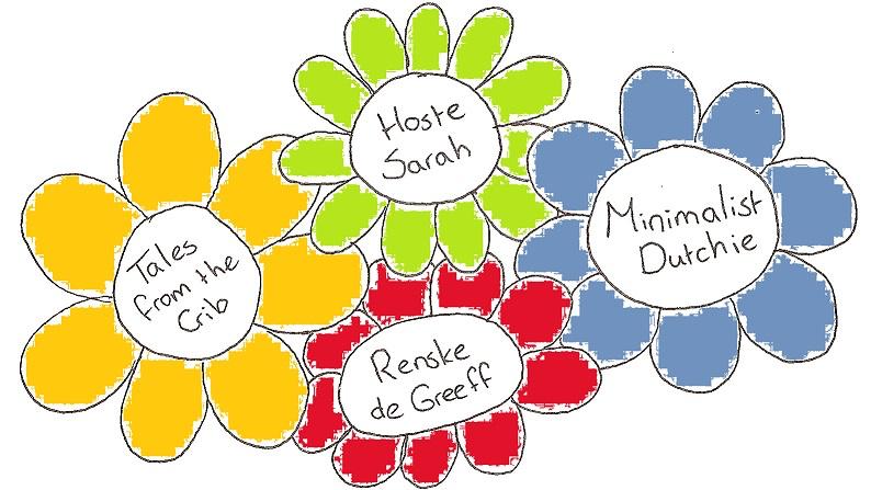 De namen van vier blogs (Tales from the Crib, Hoste Sarah, Renske de Greeff en Minimalist Dutchie) in vier getekende bloemetjes