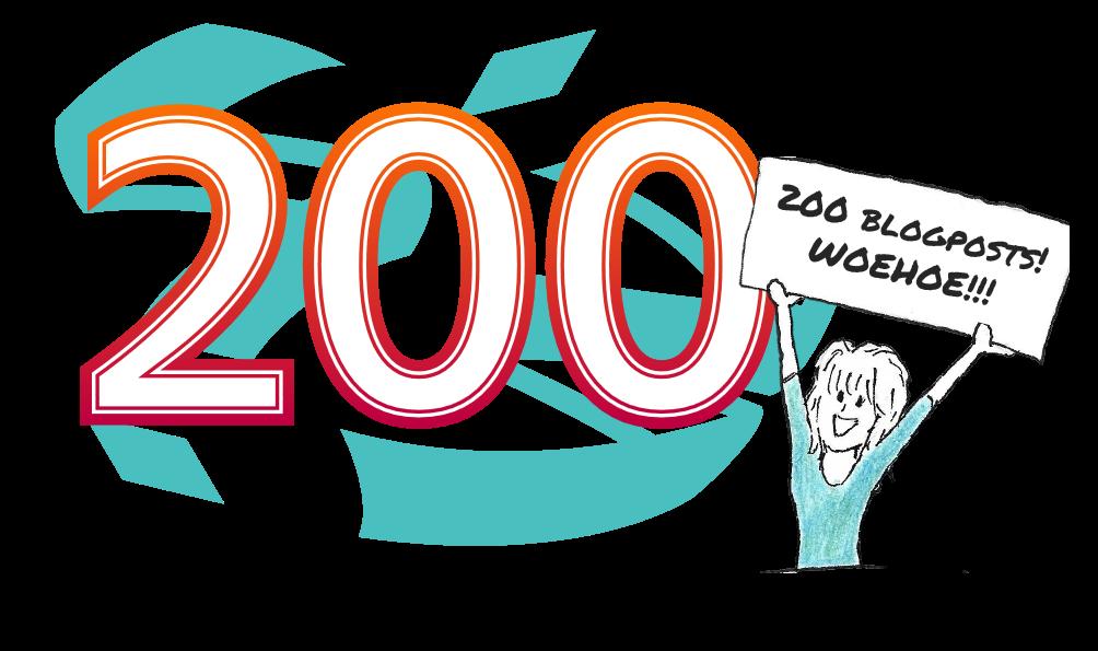 """een grote """"200"""" met daarbij een tekening van mezelf. Ik houd een bordje op met de tekst """"200 blogposts, woehoe!"""""""