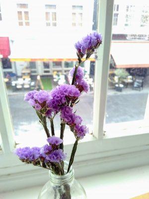 paarse bloemetjes in een vaasje voor het raam