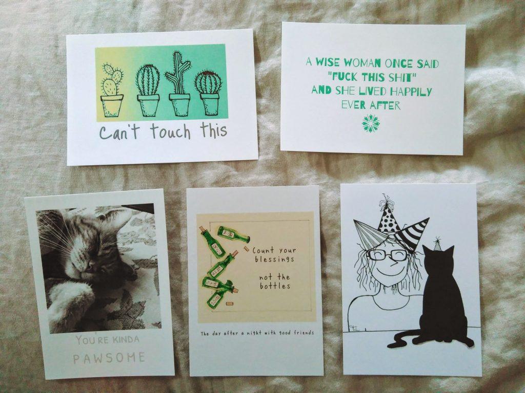 vijf ansichtkaarten