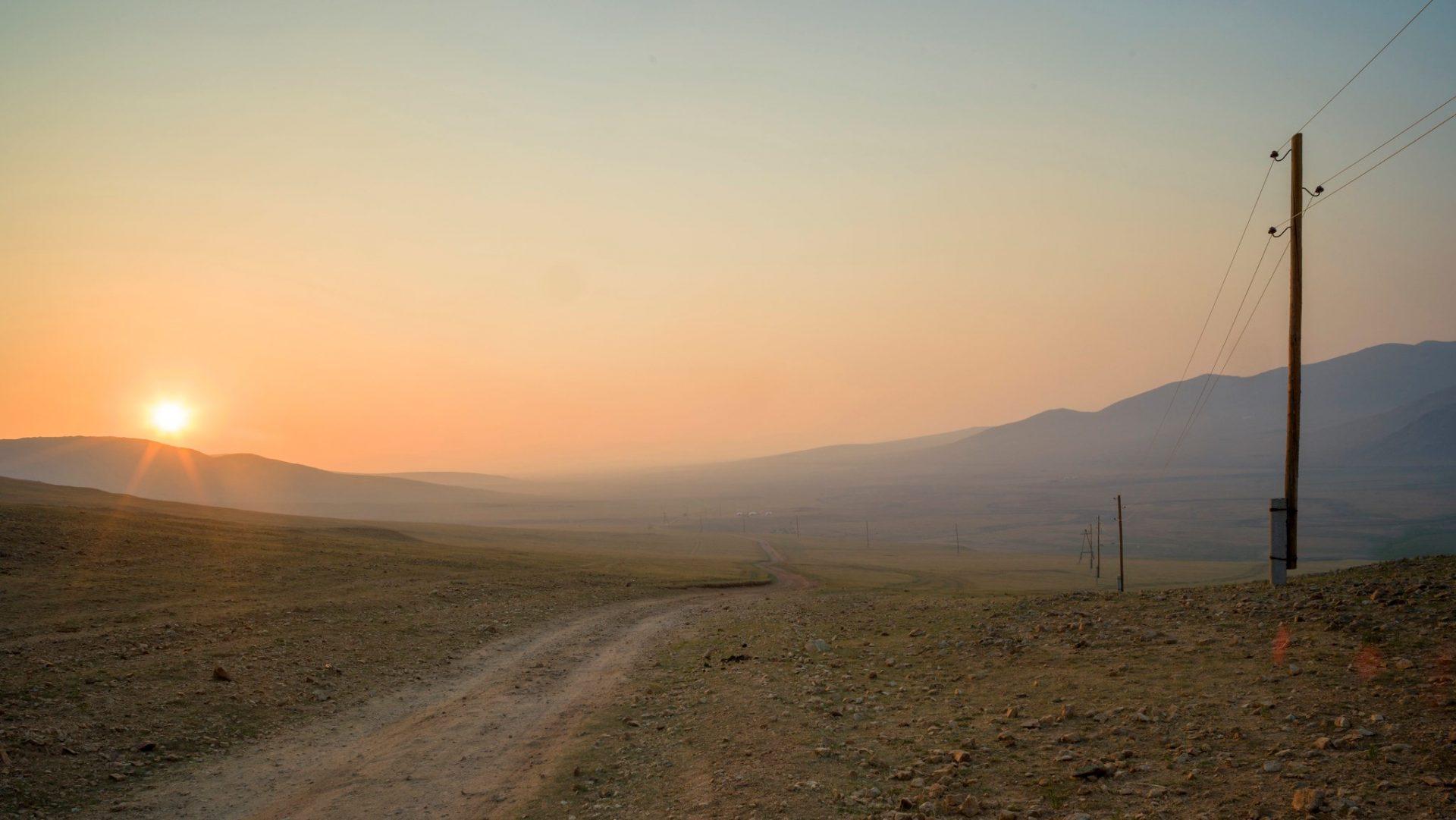 Zonsopgang in Mongolië