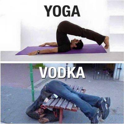 yoga versus vodka: twee mannen, dezelfde houding, verschillende oorzaak